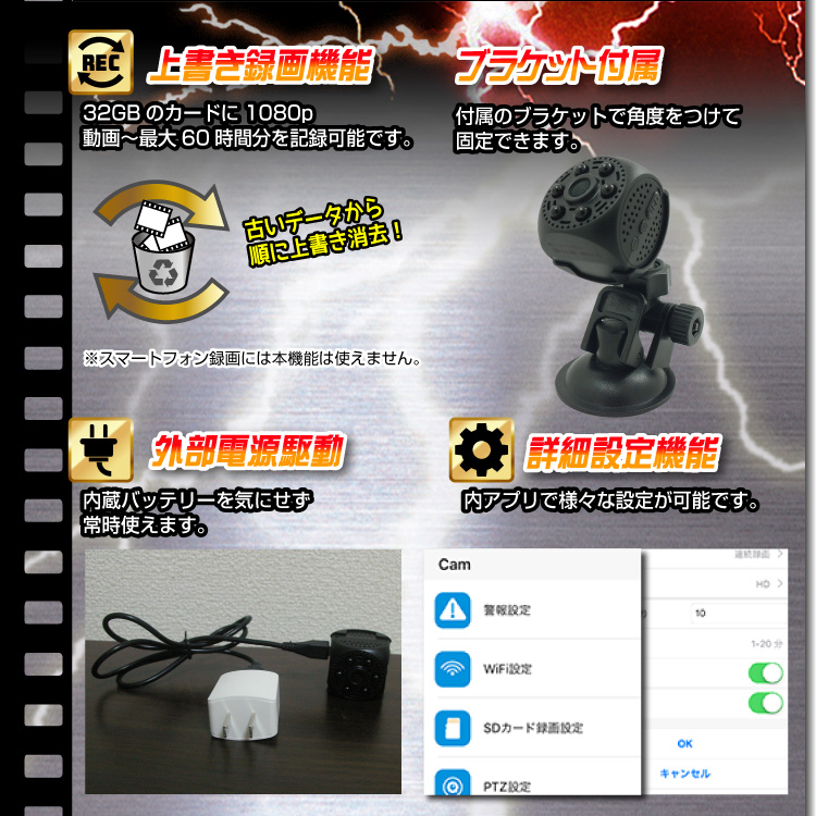 】Wi-Fiキューブ型ビデオカメラ(匠ブランド)『Shy-cue』(シャイキュー)